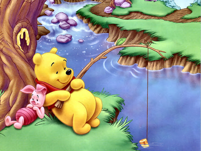 Cute Wallpaper Pooh Fishing