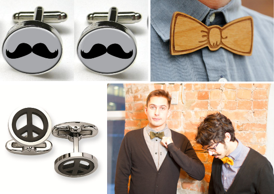 Hipster groom, bow tie, cufflinks