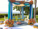 Blue Mandap with puja seating