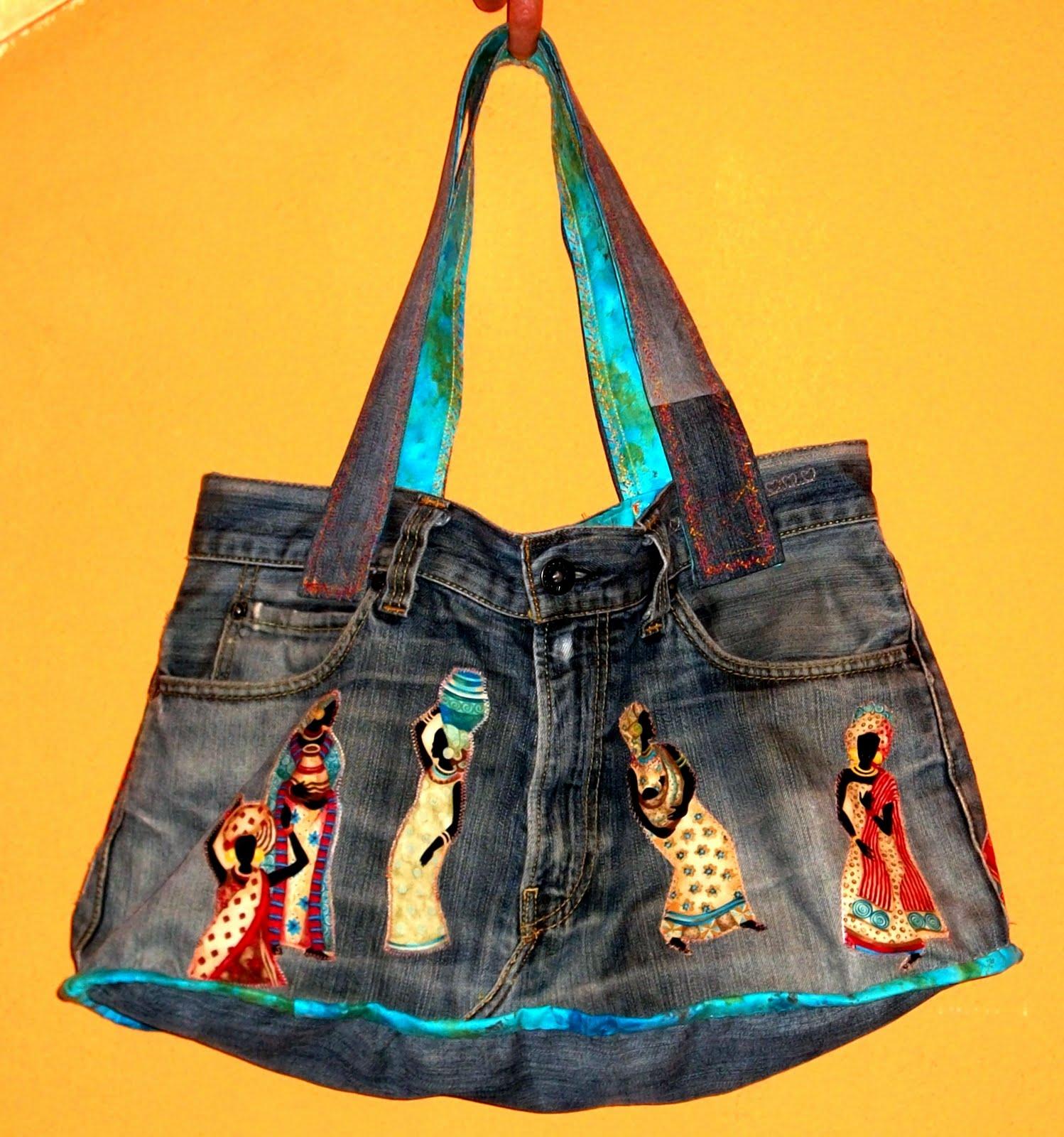 Bolso patchwork vaquero jeans patchwork isabel gonz lez - Manualidades patchwork bolsos ...