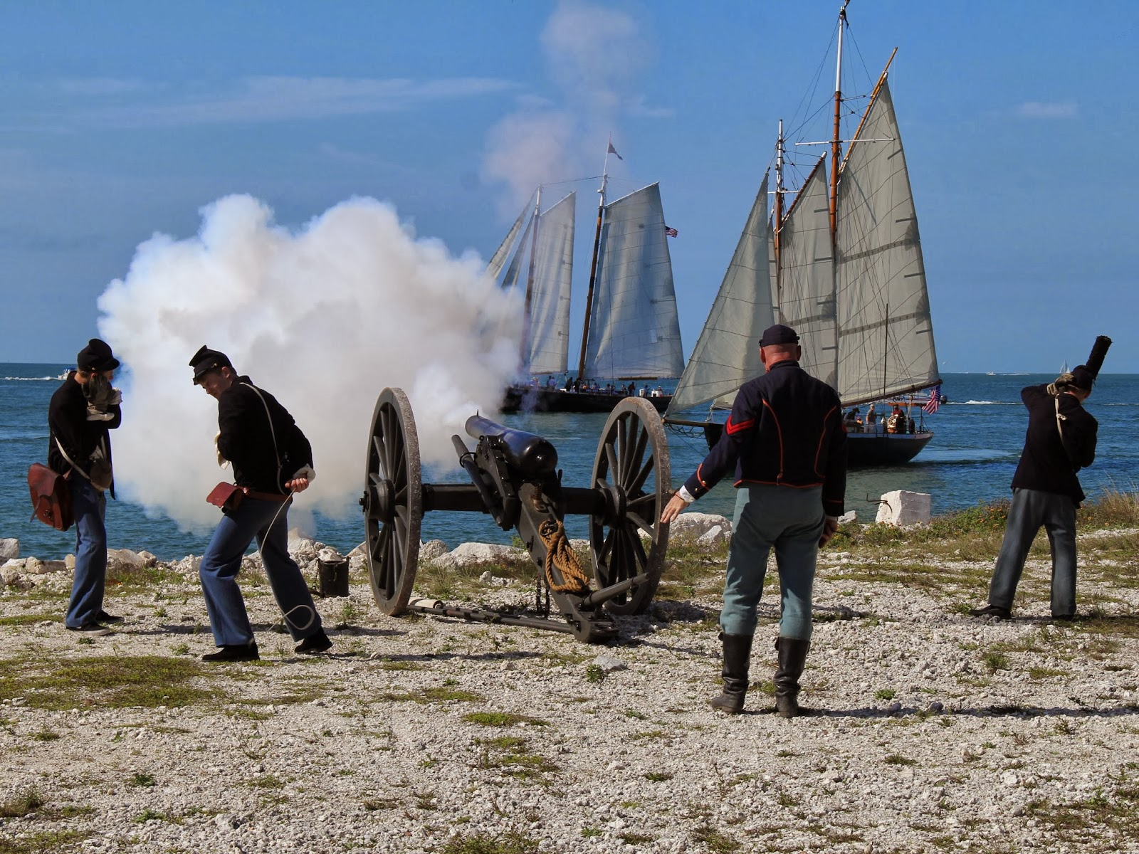 The sea battle at the 28th annual civil war heritage days in fort