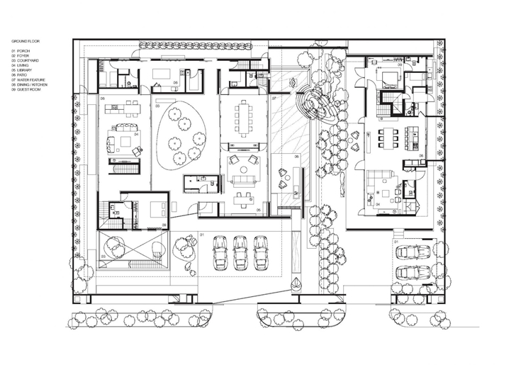 Ground floor plan of The Wall House by FARM Architects