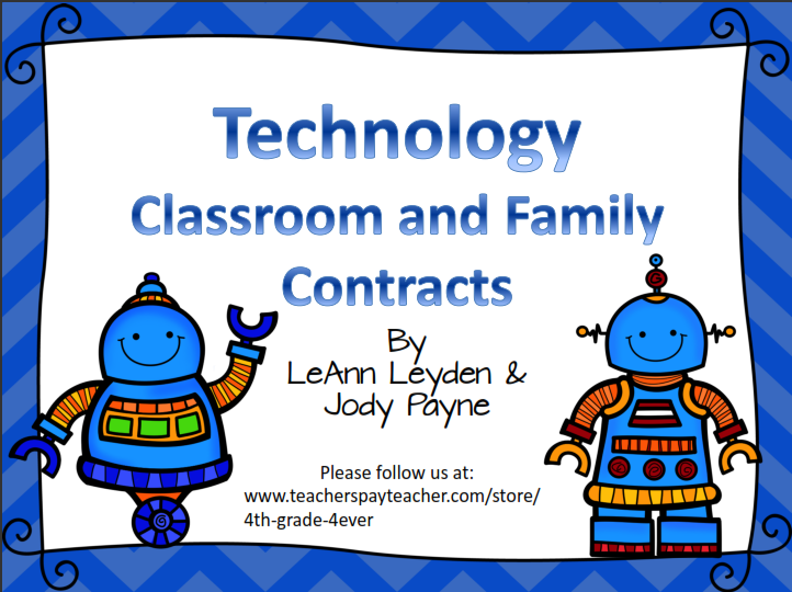 Freebie- Technology Contracts for School and Home