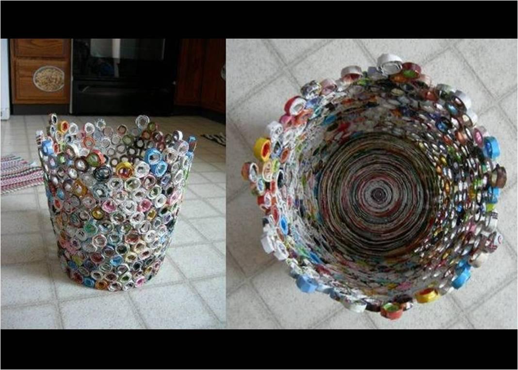 Recicla inventa c mo hacer papeleras con papel de regalo - Manualidades para la casa recicladas ...