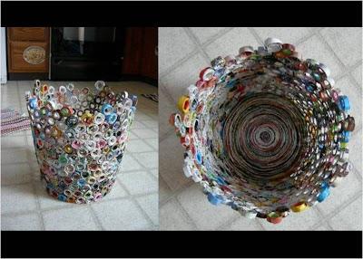 Papeleras con papel de regalo reciclado por Recicla Inventa