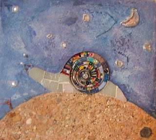 Tableau décoratif escargot bleu pâte de verre perles mécanismes d'horloge peinture et sable idéal cadeau de naissance mimi vermicelle
