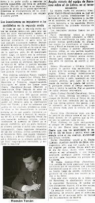 Artículo de Román Torán sobre el Torneo Triangular Internacional Madrid - Lisboa - Barcelona (parte 2)
