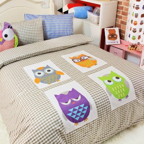 Cliab Home Textile Owl Bedding Boys Bedding Owl Applique Duvet Cover Twin/full/queen Size 100% Cotton 4pcs (Full)