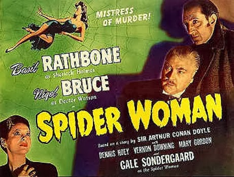 Sherlock Holmes in the Spider Woman movie poster, starring Basil Rathbone, Nigel Bruce, with Gale Sondergaard.