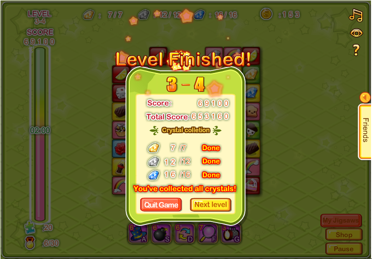 Level Finished 3-4