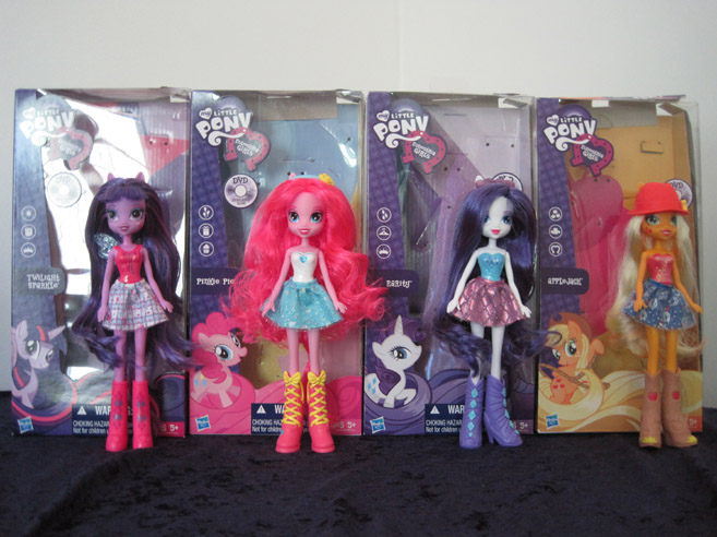 MLP: Equestria Girls basic Twilight Sparkle, Pinkie Pie, Rarity, and Applejack.