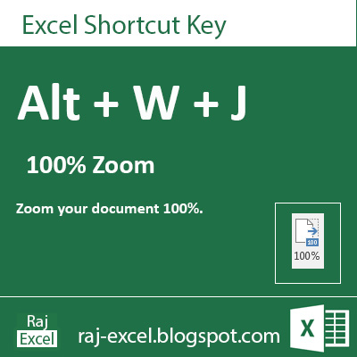 Microsoft Excel 2013 Short Cut Keys: Alt + WJ (100% Zoom of Excel Sheet View)