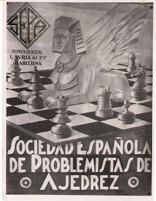 Cartel de la Sociedad Española de Problemistas de Ajedrez en 1942