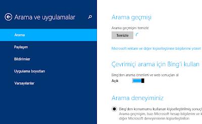 Windows 8.1 arama geçmişi