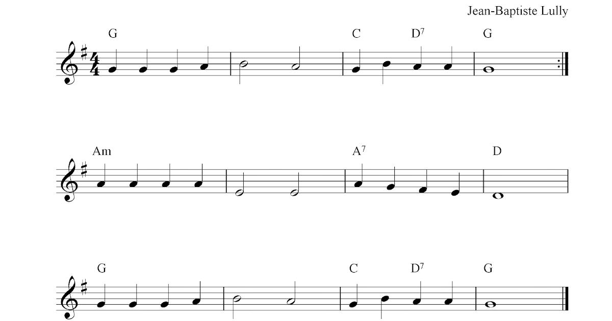 Au Clair De La Lune, free flute sheet music notes