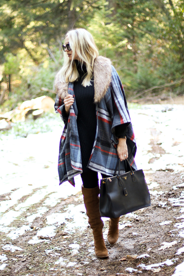 fur collar plaid poncho fall style