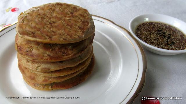 Aehobakjeon  (Korean Zucchini Pancakes) with Sesame Dipping Sauce, Zucchini Pancakes,