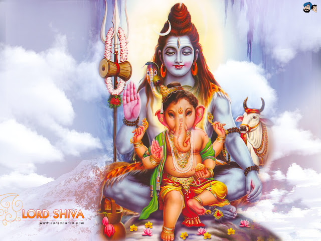 Lord Ganesh with His Father Shiva