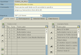 SAP transaction codes in roles