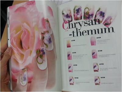 Chrysanthemum nail art drawing, easy to follow nail art