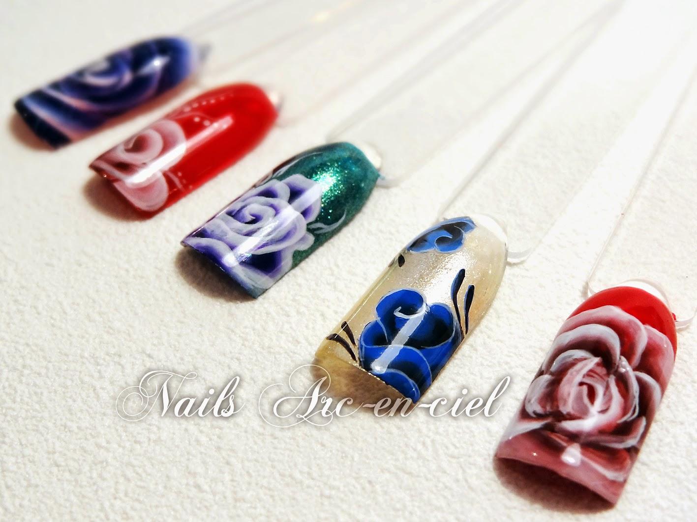 nail art fleurs one stroke