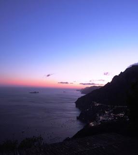 sunset, pink, Positano Italy