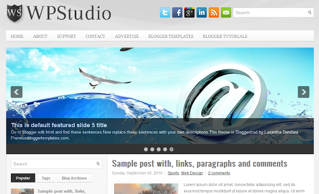 WP Studio Left Sidebar Blogger Template