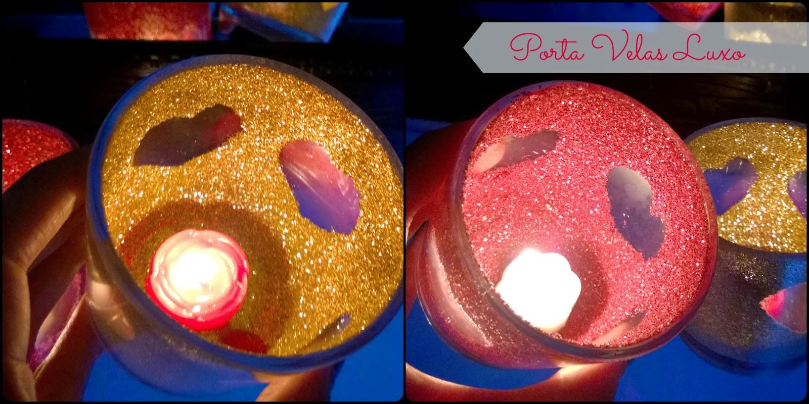 Decorando com Velas: DIY Porta Velas com Glitter
