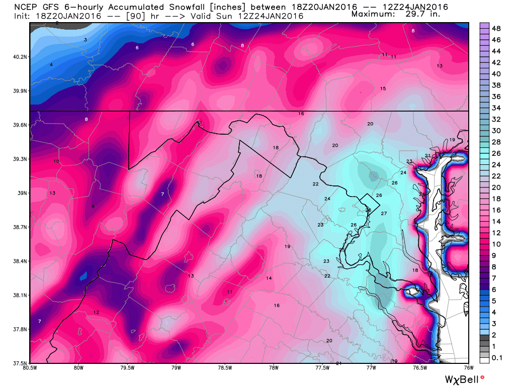 18z gfs model estimates 24 26 inches for gmu by sunday morning