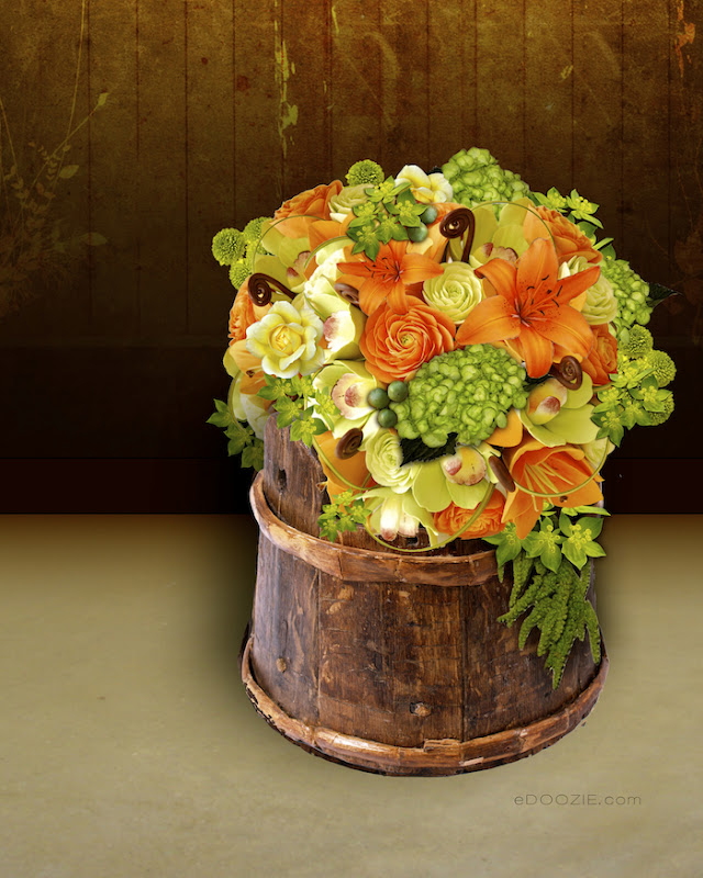 floral arrangement, orange flower arranging, green and orange flowers, wooden bucket, rustic container
