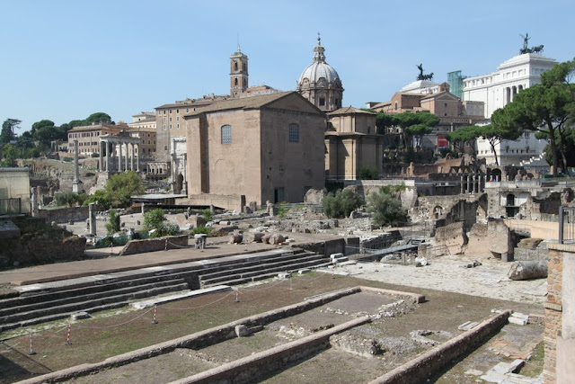 Basilica Julia was one of the great judicial buildings of the capital at Roman Forum in Rome, Italy