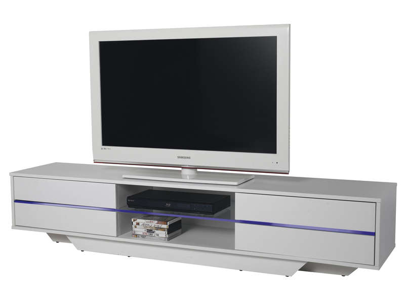 Meuble tv bas long blanc solutions pour la d coration for Long meuble tv