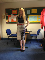 River Island navy peep-toes and Topshop striped skirt
