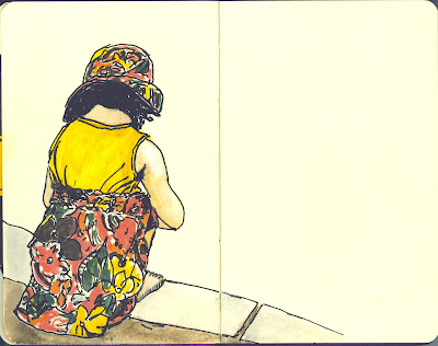 Laura at the Playground - Pen and Ink with Watercolour by Ana Tirolese ©2012