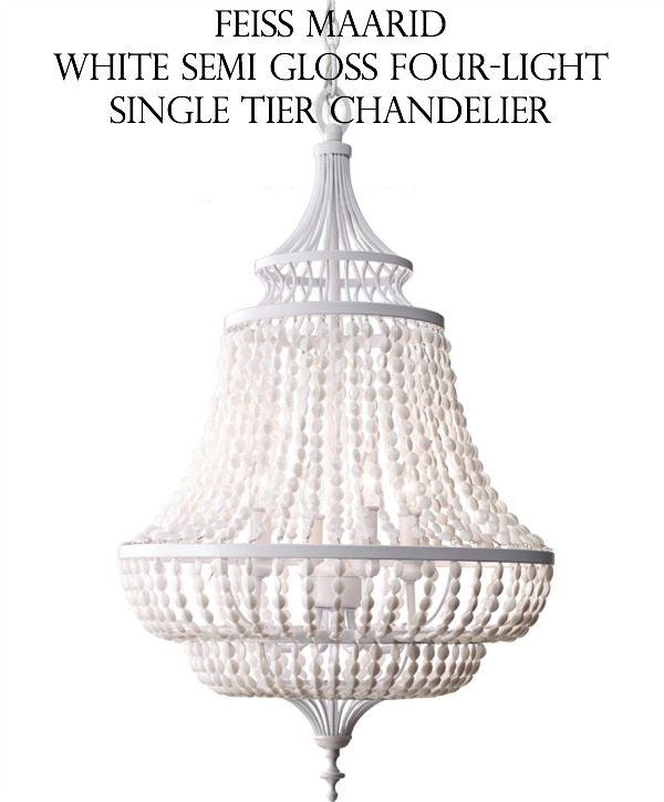 Gorgeous chandelier - Feiss Maarid White Semi Gloss Four Light Single Tier Chandelier
