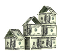 Photo of fifteen one hundred dollar bills arranged in ascending house-looking structures