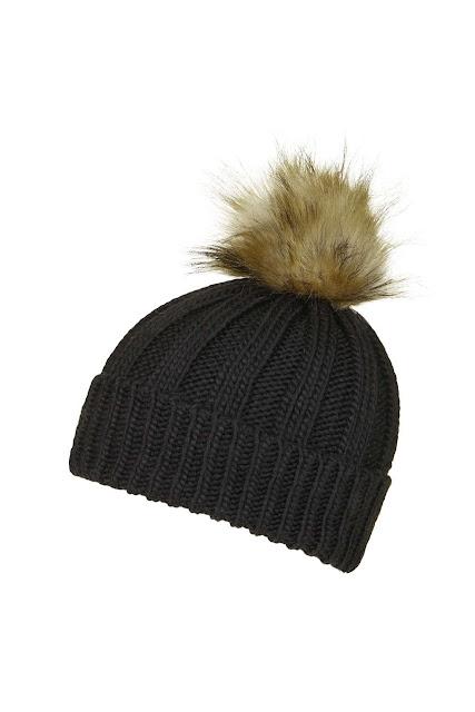 topshop fluffy pom beanie, black beanie with fur pom pom,