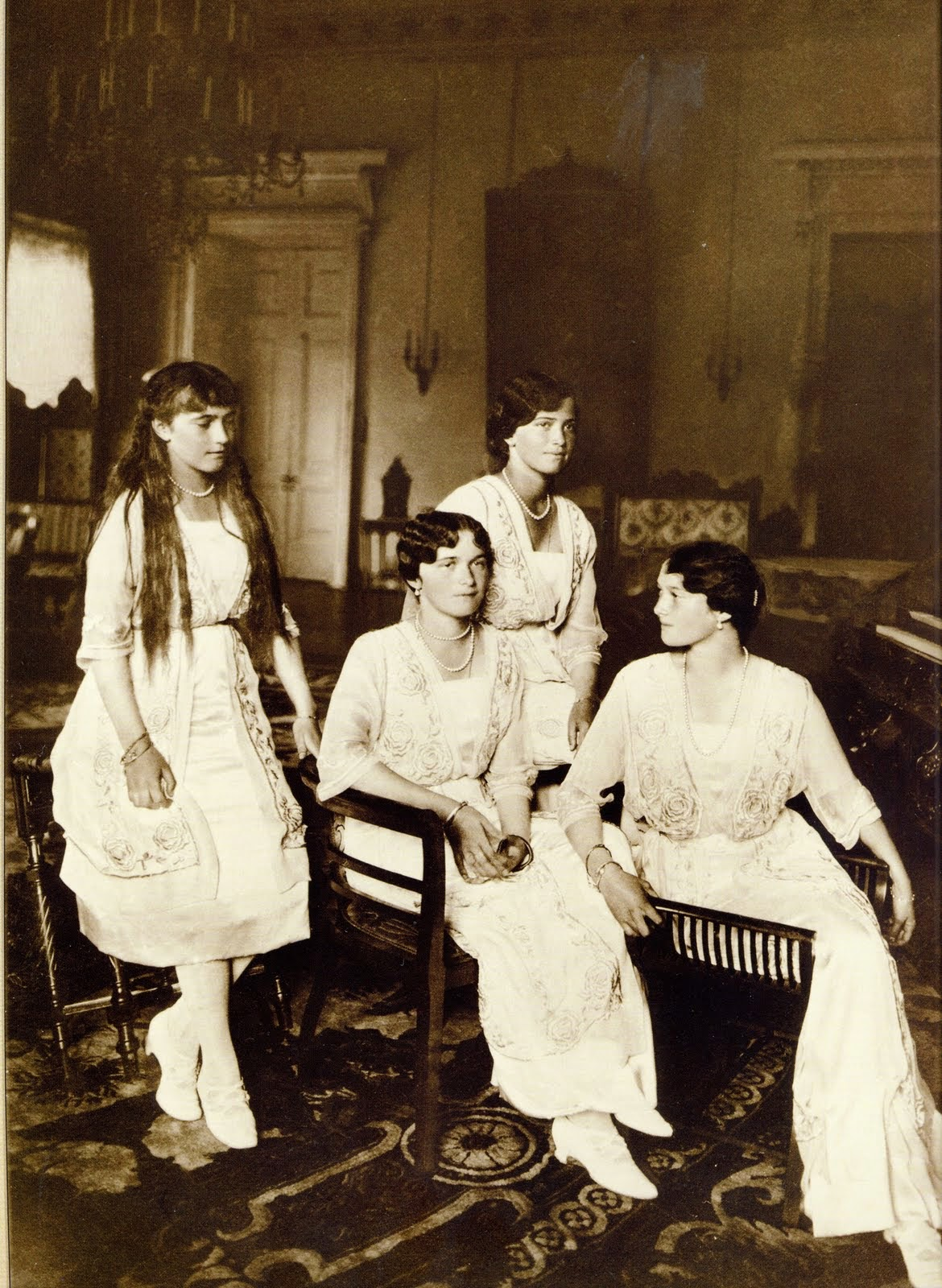 One Of The Last Formal Portraits Of The Grand Duchesses From Left To  Right, Anastasia, Olga, Maria, And Tatiana