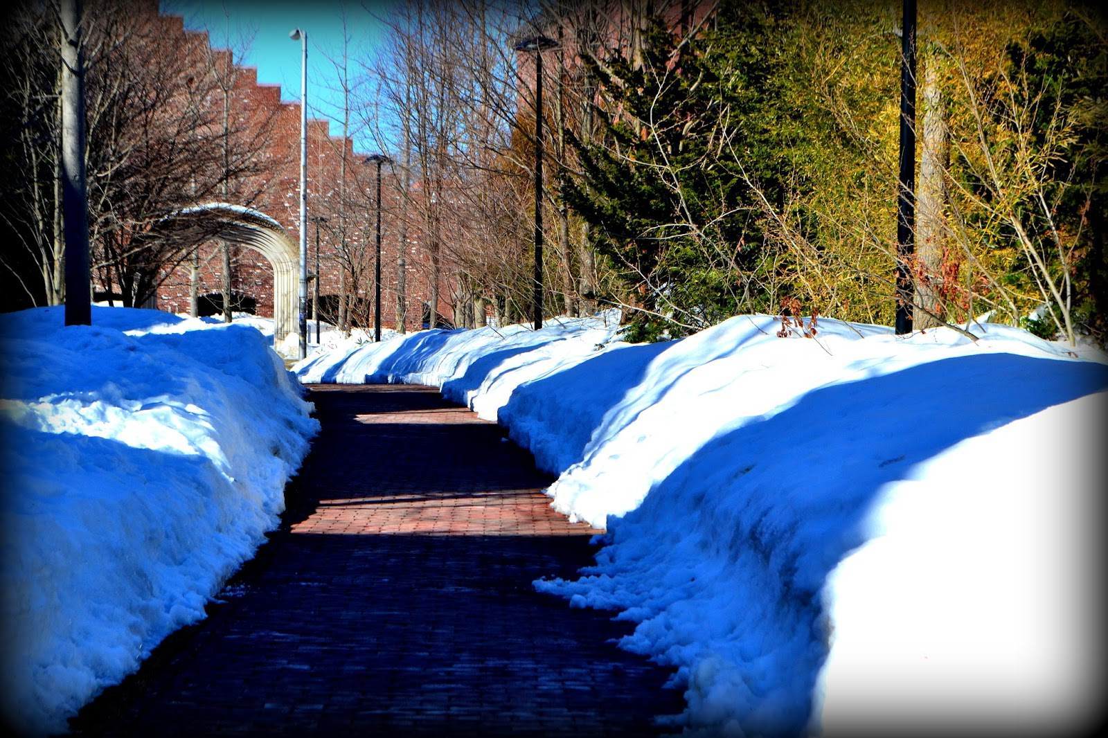 Peabody Essex Museum, pathway, snow, shadow, armory, arch