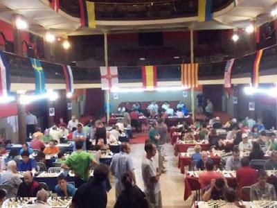 Sala de juego del 38º Torneo abierto de ajedrez de Sitges