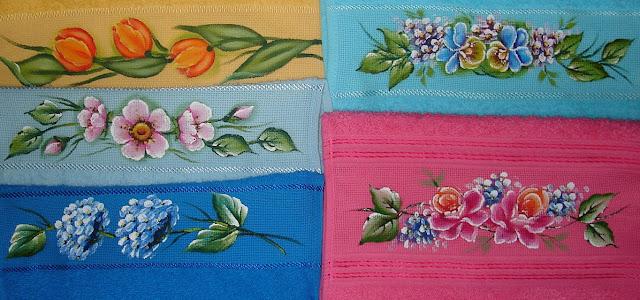 pintura em tecido toalha banho