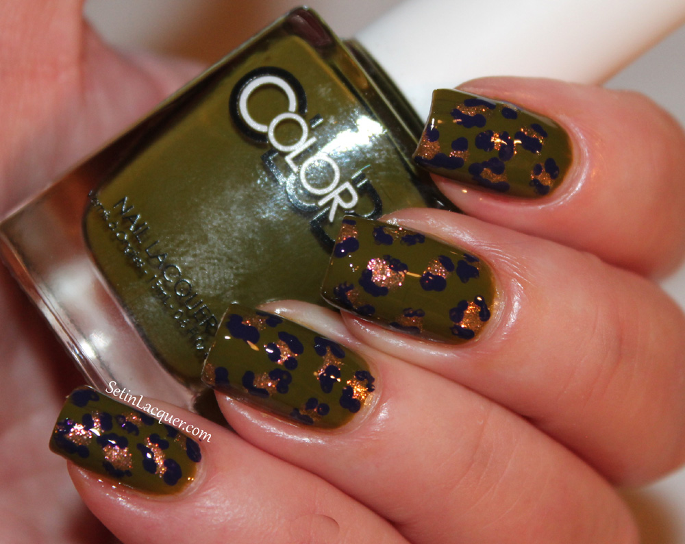 Color Club Safari Garden leopard nail art
