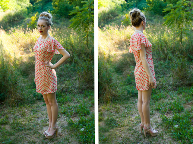 vera moda nude and red cherry print dress large top knot fashion blogger