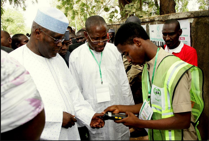 Obasanjo, Atiku And Bola Tinubu Get Accredited At Their Respective Polling Units…See Photos