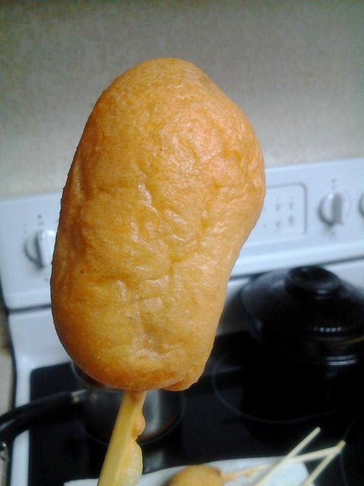 close up picture of grain free corndog made from almond flour meal