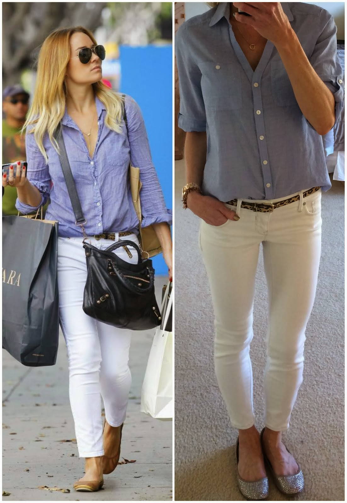 Lauren Conrad duplicate outfit, copycat look, Express ankle zip jean legging, white jeans, blue blouse