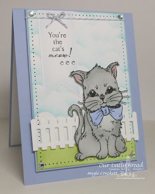 ODBD The Cat's Meow, ODBD Custom Fence Die, ODBD Custom Pennants Dies, ODBD Custom Clouds and Raindrops Dies, Card Designer Angie Crockett