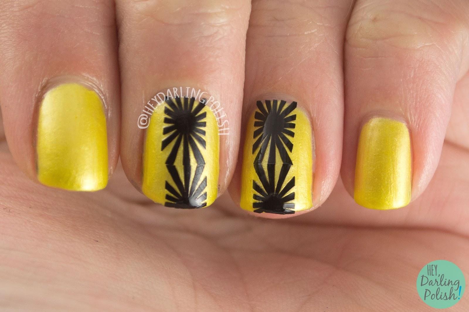 nails, nail polish, indie polish, indie, kitty polish, hey darling polish, yellow, #TBT, nail art, nail vinyls