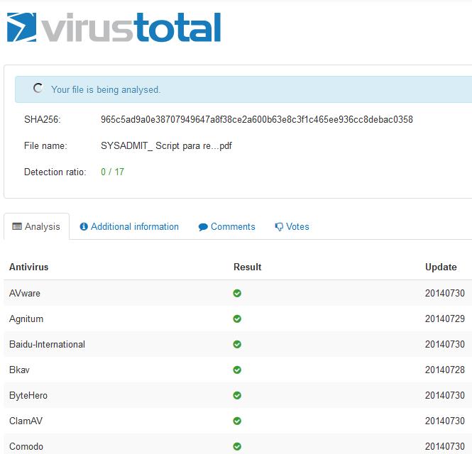 Análisis de fichero utilizando la web de Virustotal