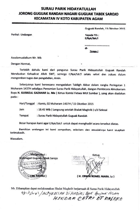 Surat Undangan Resmi Peringatan 1 Muharram 1437 di Surau Parik Jorong Guguak Randah